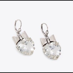 Tory Burch Silver Clear Crystal Heart Earrings